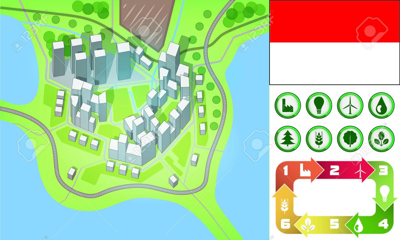 Environmental City Map And Icons Set With Monaco Flag Vector