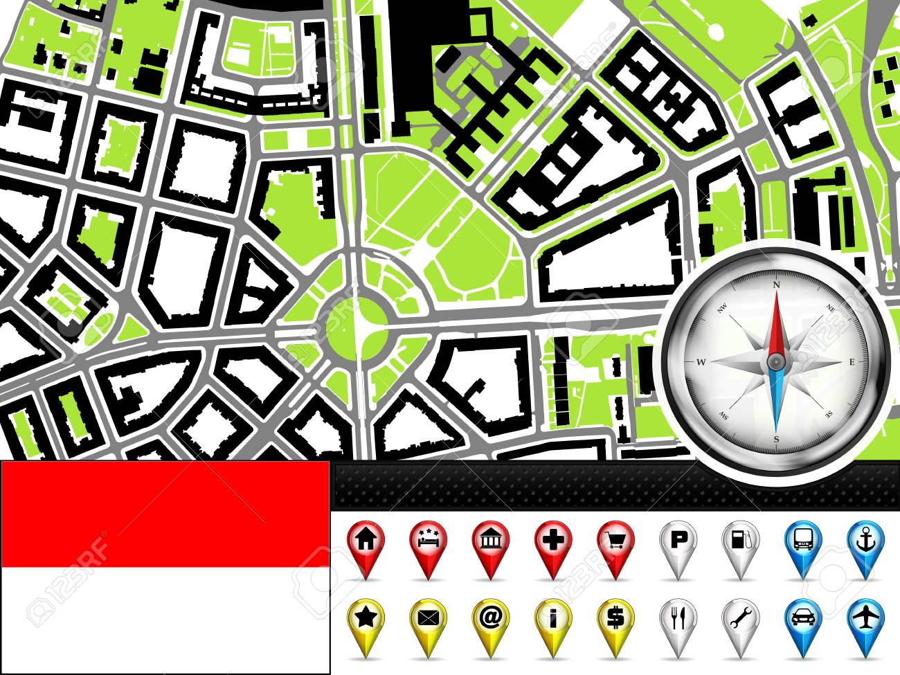 Vector City Map Navigation Label Set With Monaco Flag Illustration