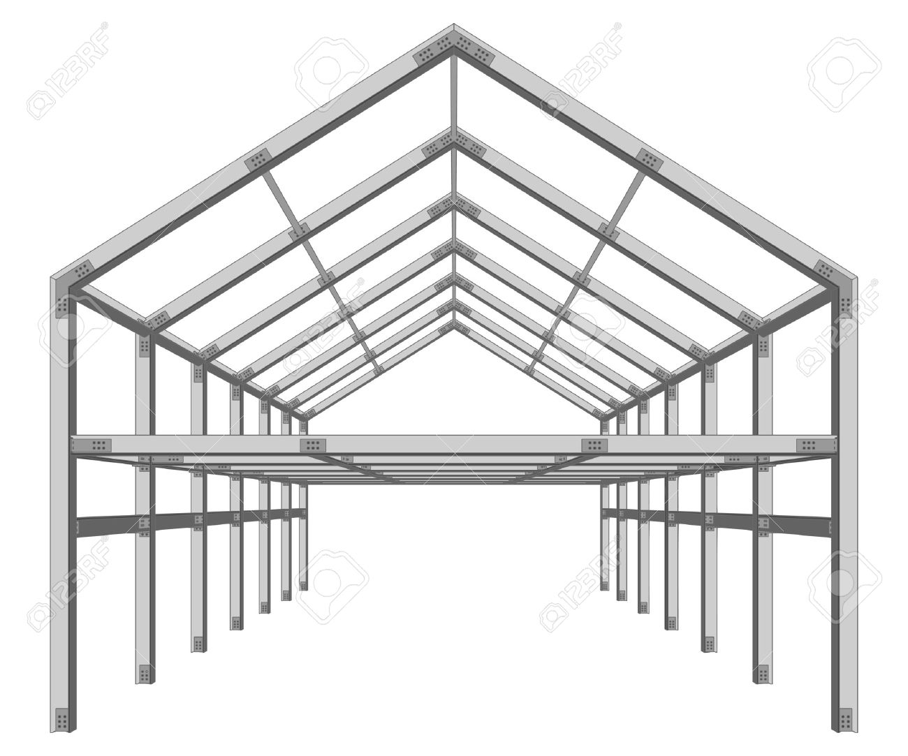 steel frame building project scheme isolated on white vector illustration - 30799464
