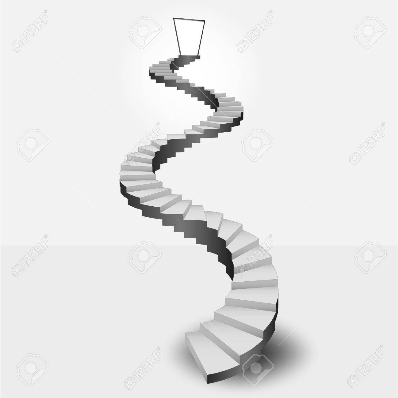 circular stairway leading to heaven door vector illustration - 31046161
