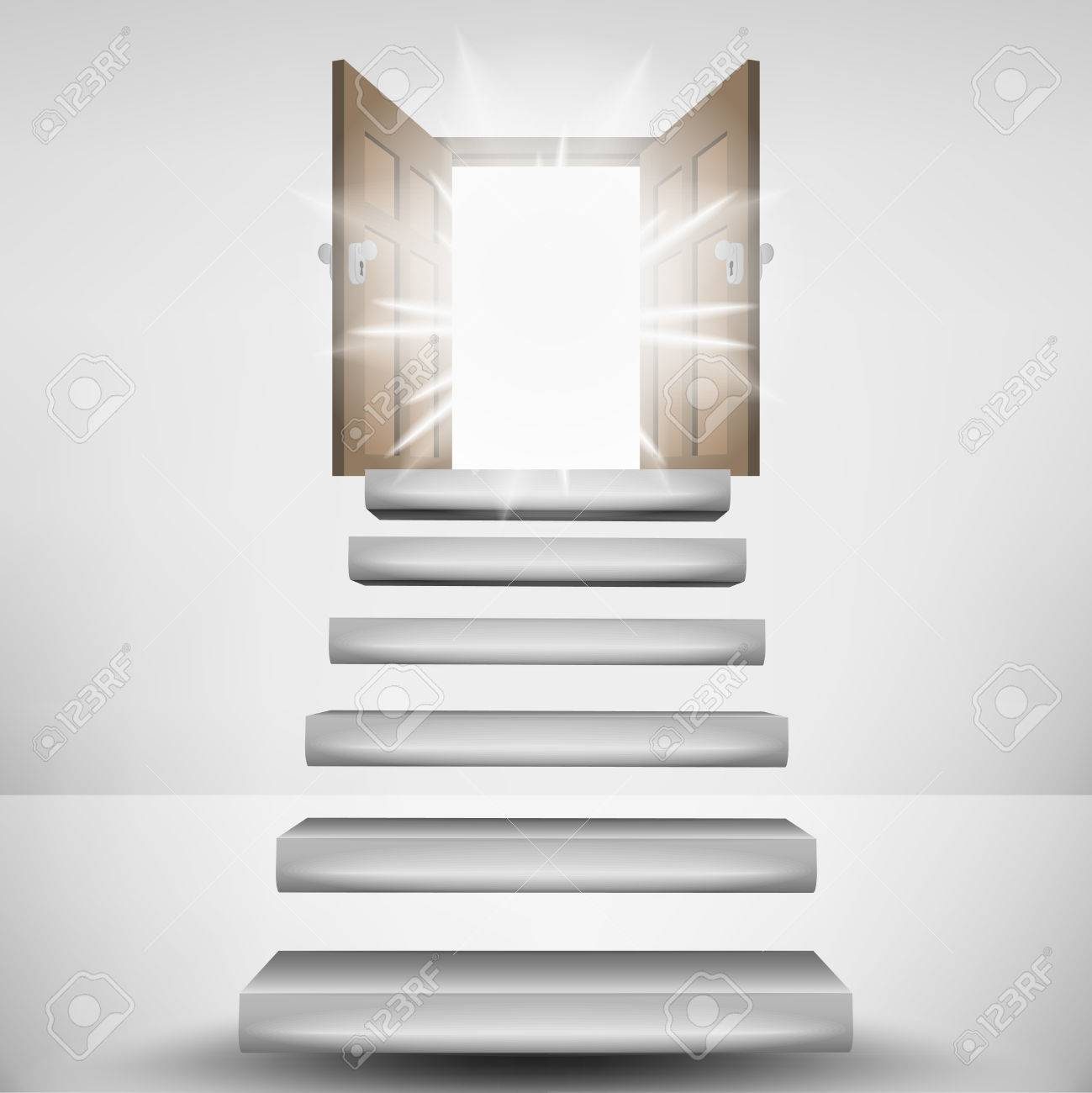 Genial Schwebende Treppe Beste Wahl Zum Himmel Tür Flare Vektor-tration Standard-bild -