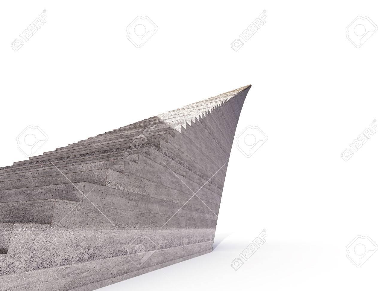 Geïsoleerde infinity bruin betonnen trap zijaanzicht render