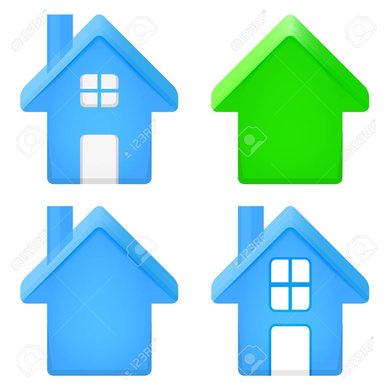 Rundes Haus 3d Icon Set Isoliert Auf Weiss Abbildung Lizenzfrei
