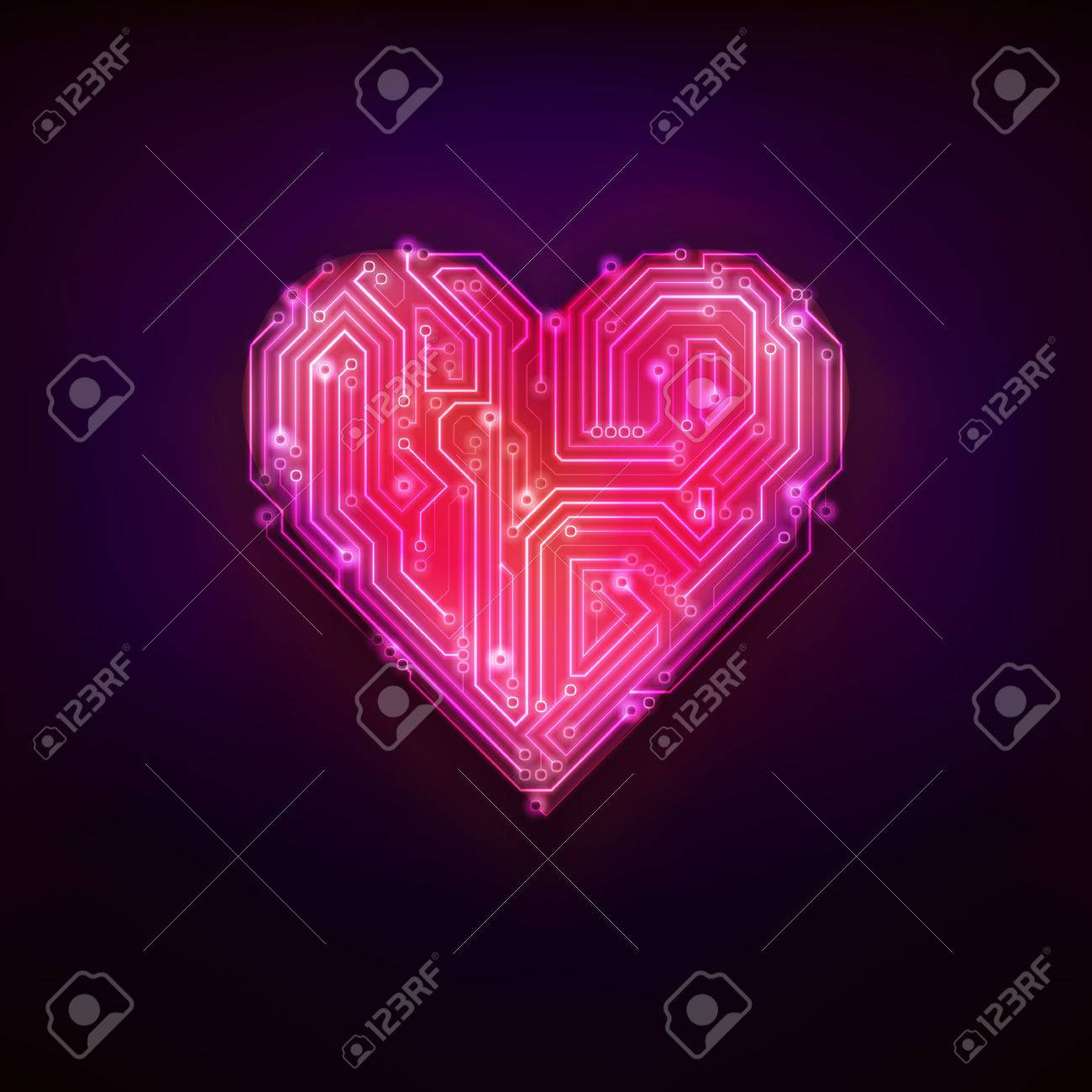 Red Tech Structure Design As Love And Heart Symbol Modern Graphic Printed Electrical Circuit Board Vector Isolated Illustration On Black