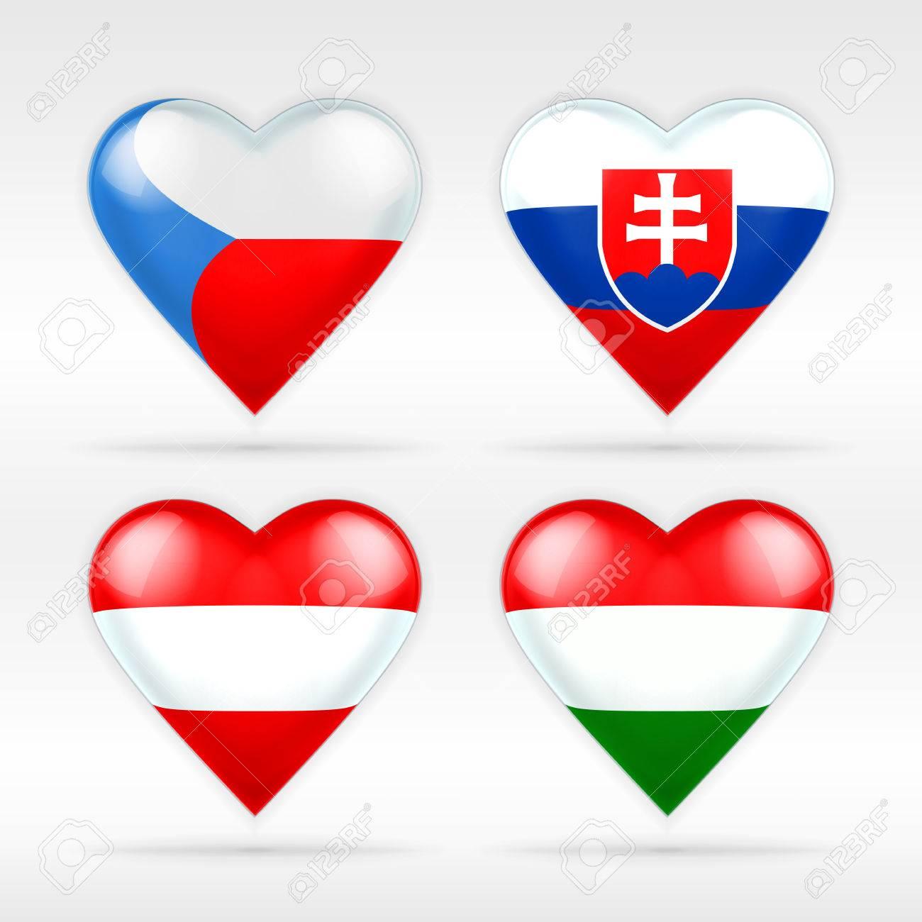 Czech, Slovakia, Austria And Hungary Heart Flag Set Of European ...