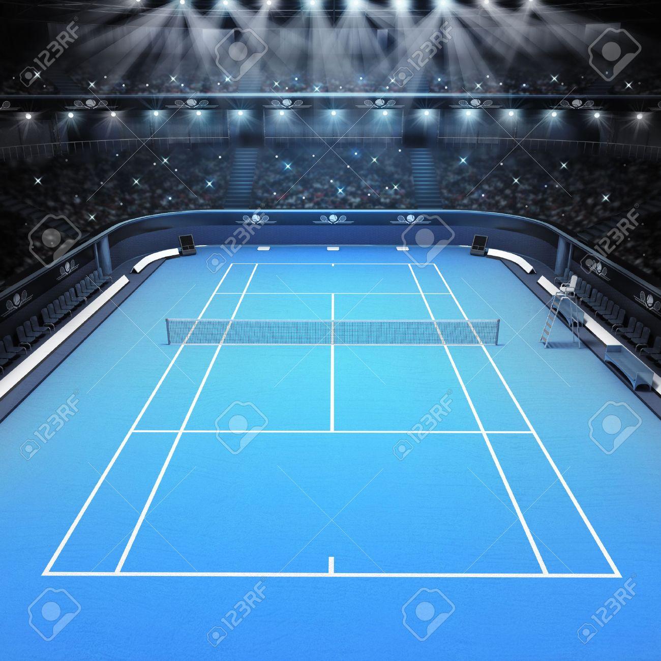 blue hard surface tennis court and stadium full of spectators with spotlights tennis sport theme render illustration background - 40869192