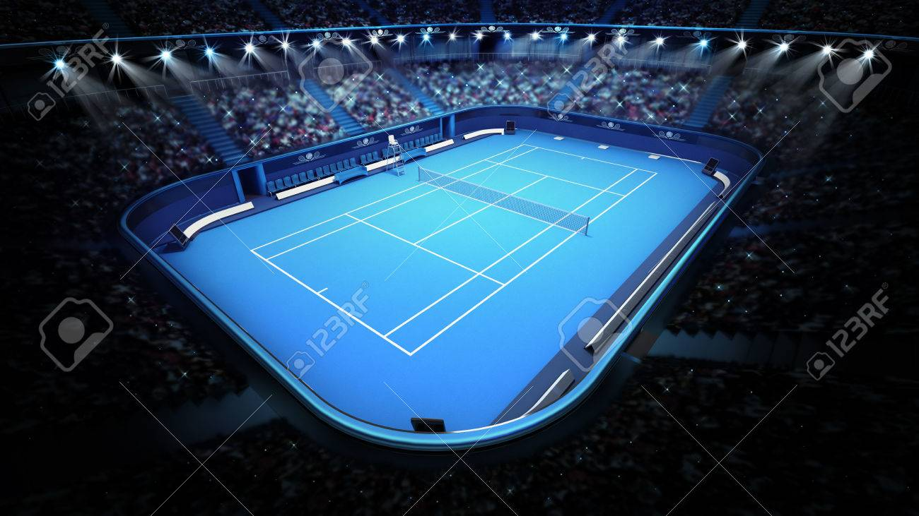 blue tennis court and stadium full of spectators from upper view tennis sport theme render illustration background - 40869194