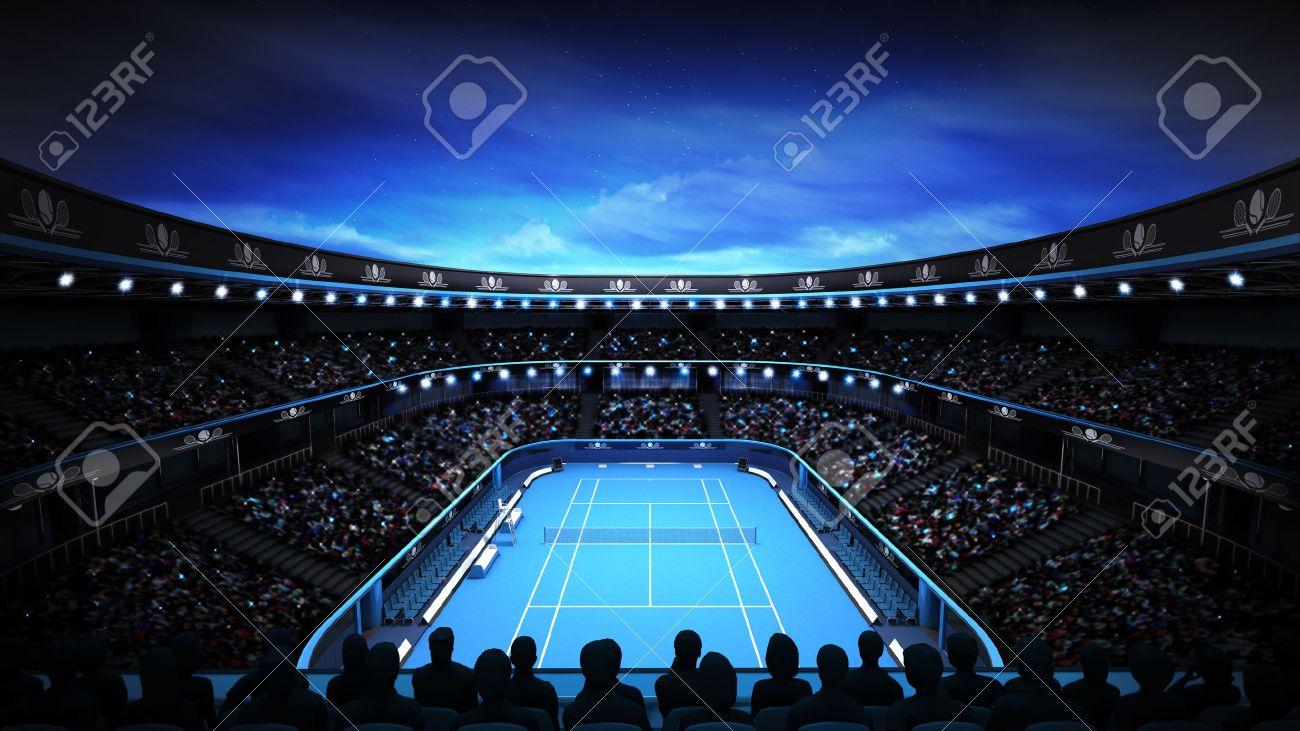tennis stadium with night sky and spotlights sport theme render illustration background own design - 40938527