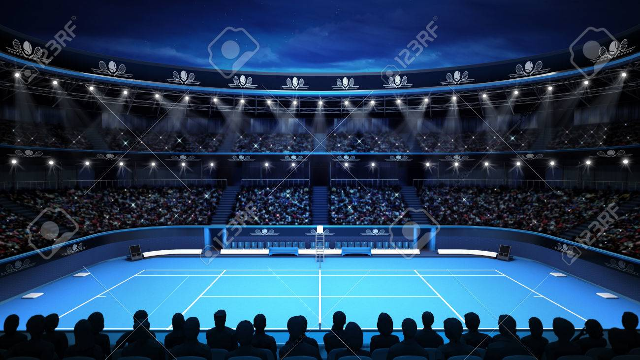 tennis stadium with evening sky and spectators sport theme render illustration background own design - 40938580