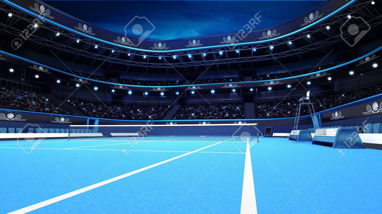 blue tennis court from the perspective of the player sport theme render illustration background own design - 41009604