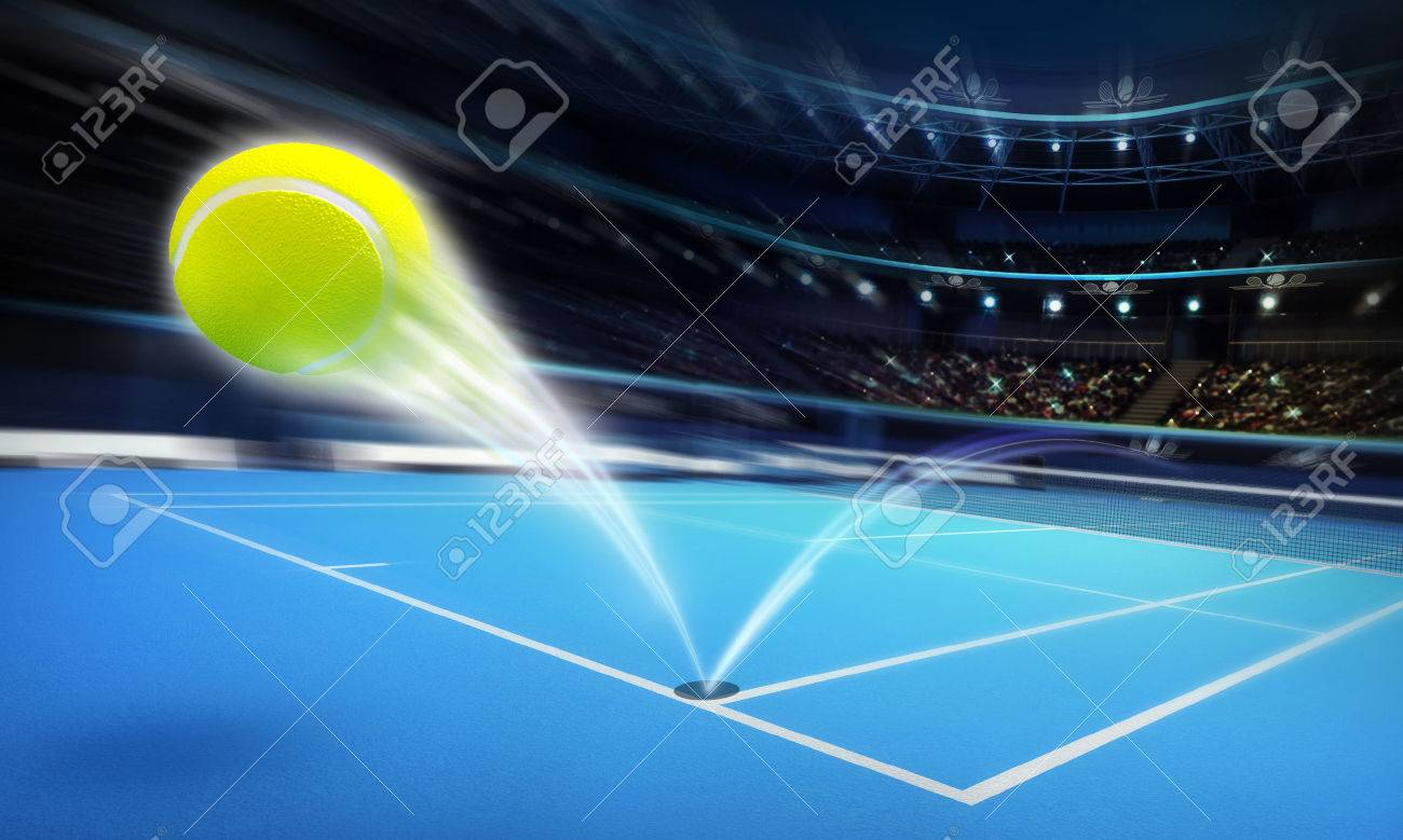 flying tennis ball on a blue court in motion blur tennis sport theme render illustration background - 41038134