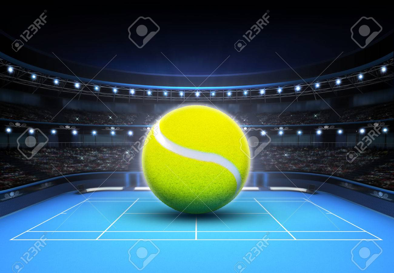 big tennis ball placed on a blue court tennis sport theme render illustration background - 41199577