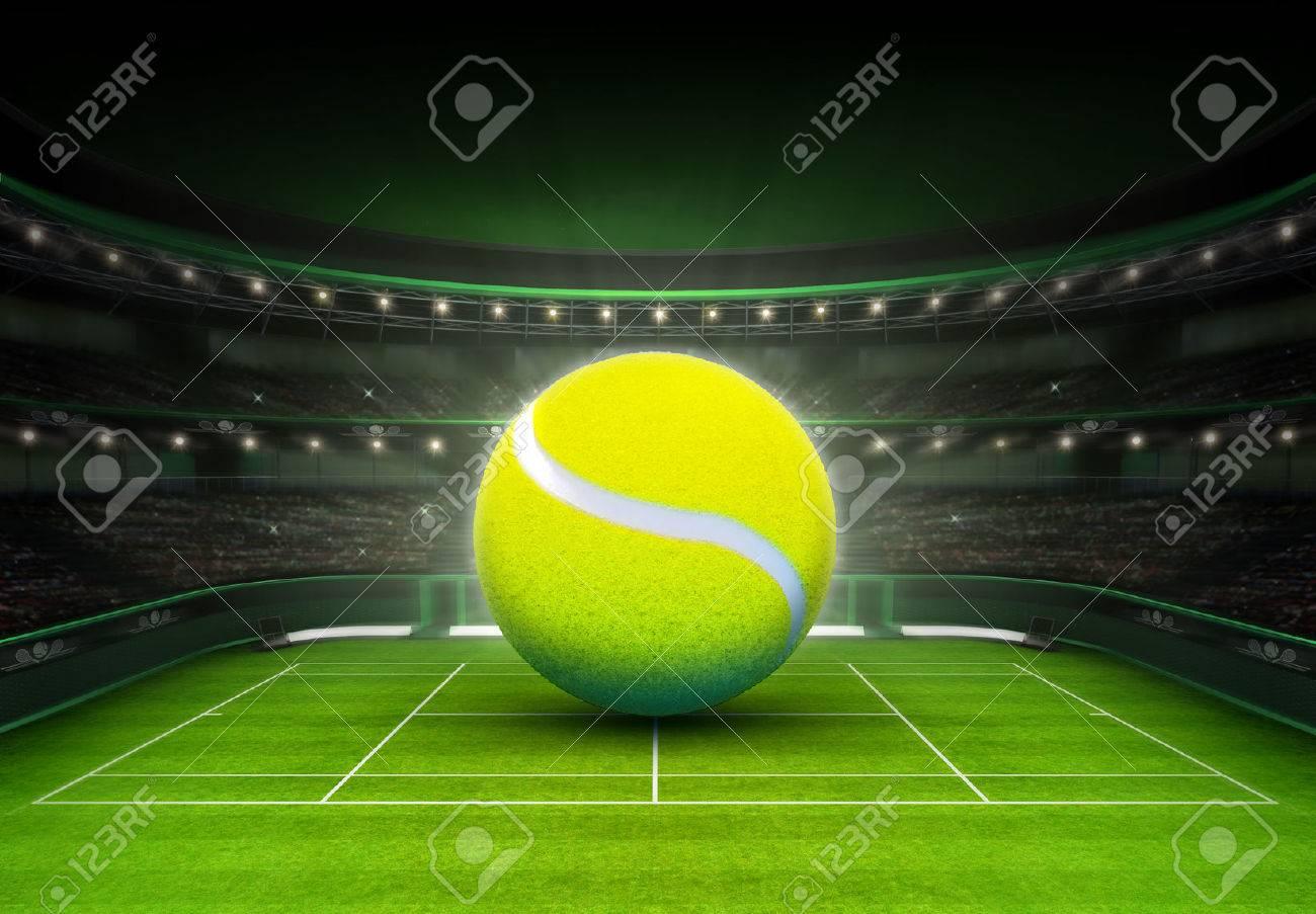 big tennis ball placed on a grass court tennis sport theme render illustration background - 42441588