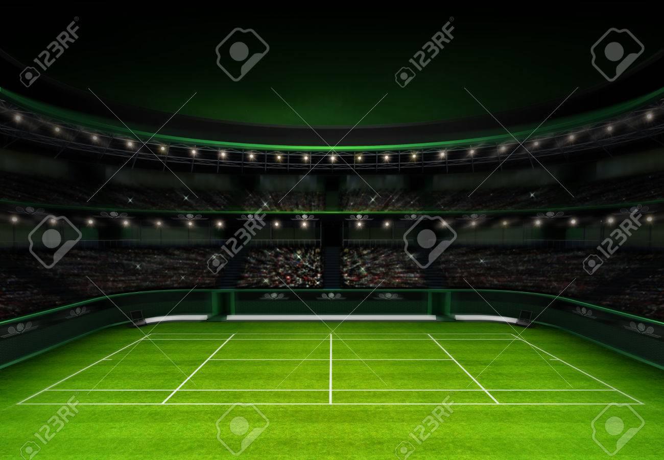 green grass tennis stadium with evening sky sport theme render illustration background own design - 42441591
