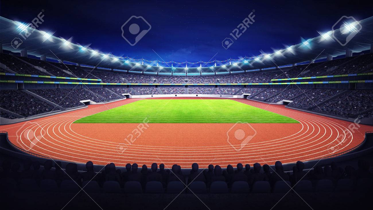 athletics stadium with track and grass field at front night view - 43540608