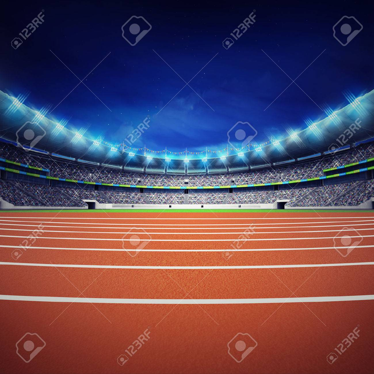 athletics stadium with track at general front night view - 43540622