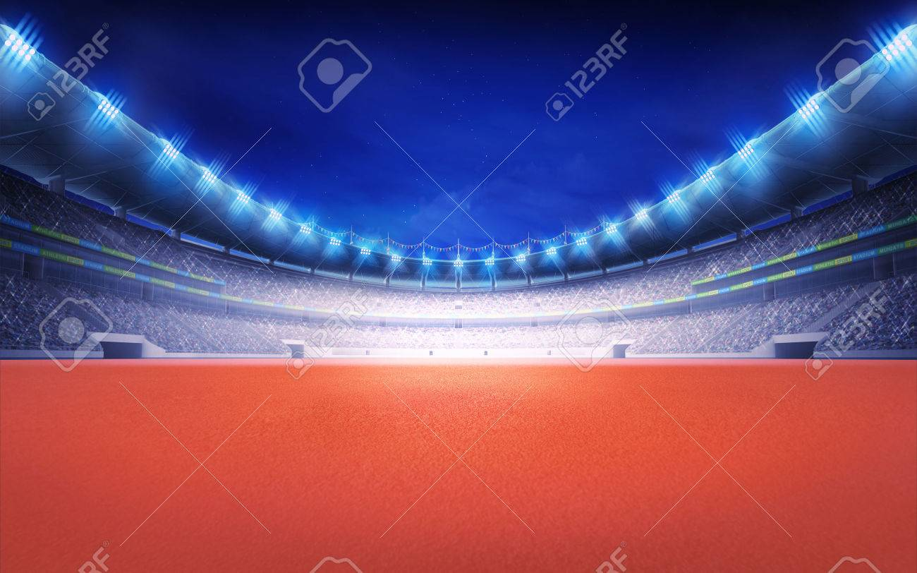 athletics stadium with tartan surface at panorama night view sport theme render illustration background - 43695138