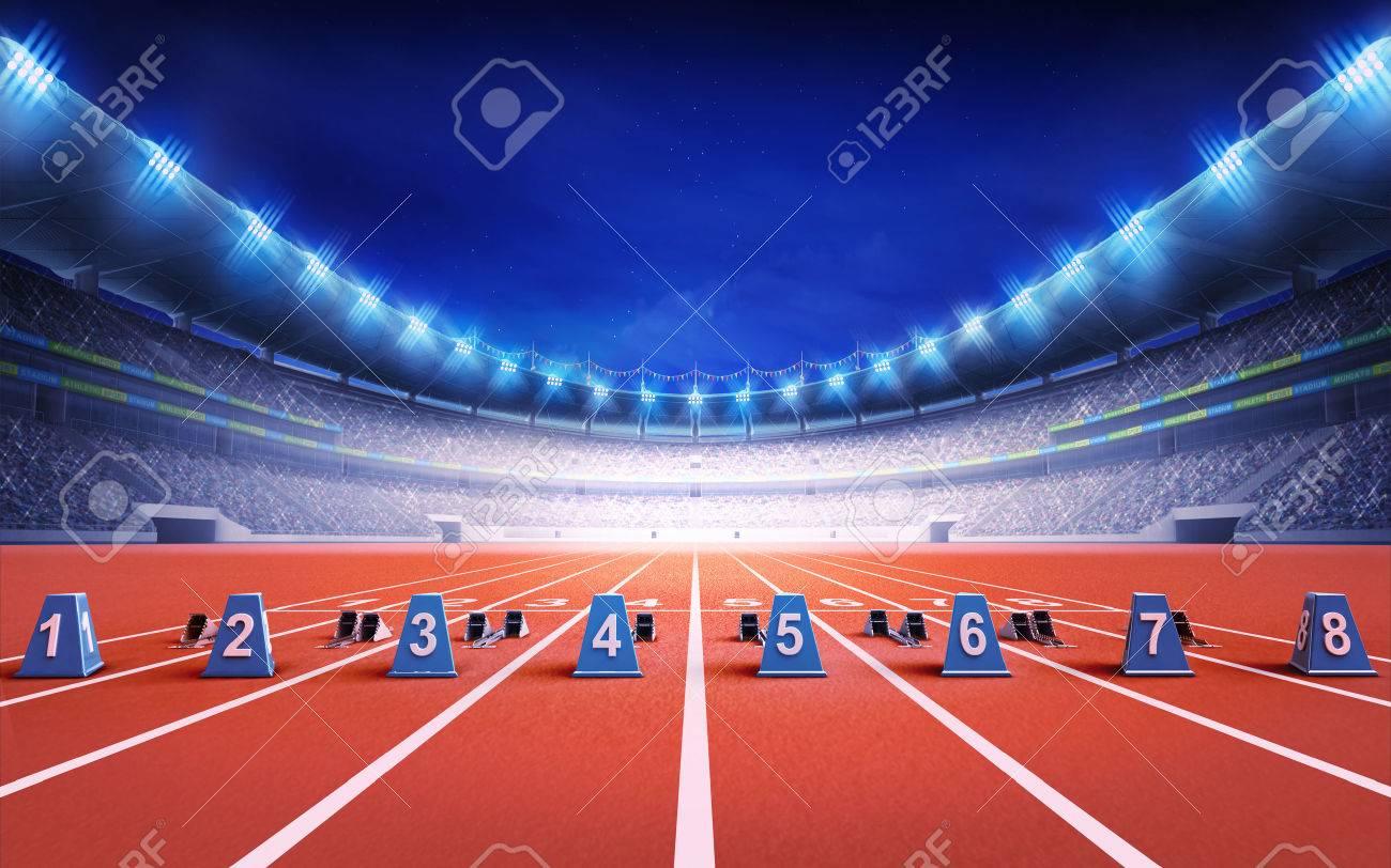athletics stadium with race track with starting blocks sport theme render illustration background - 43695139