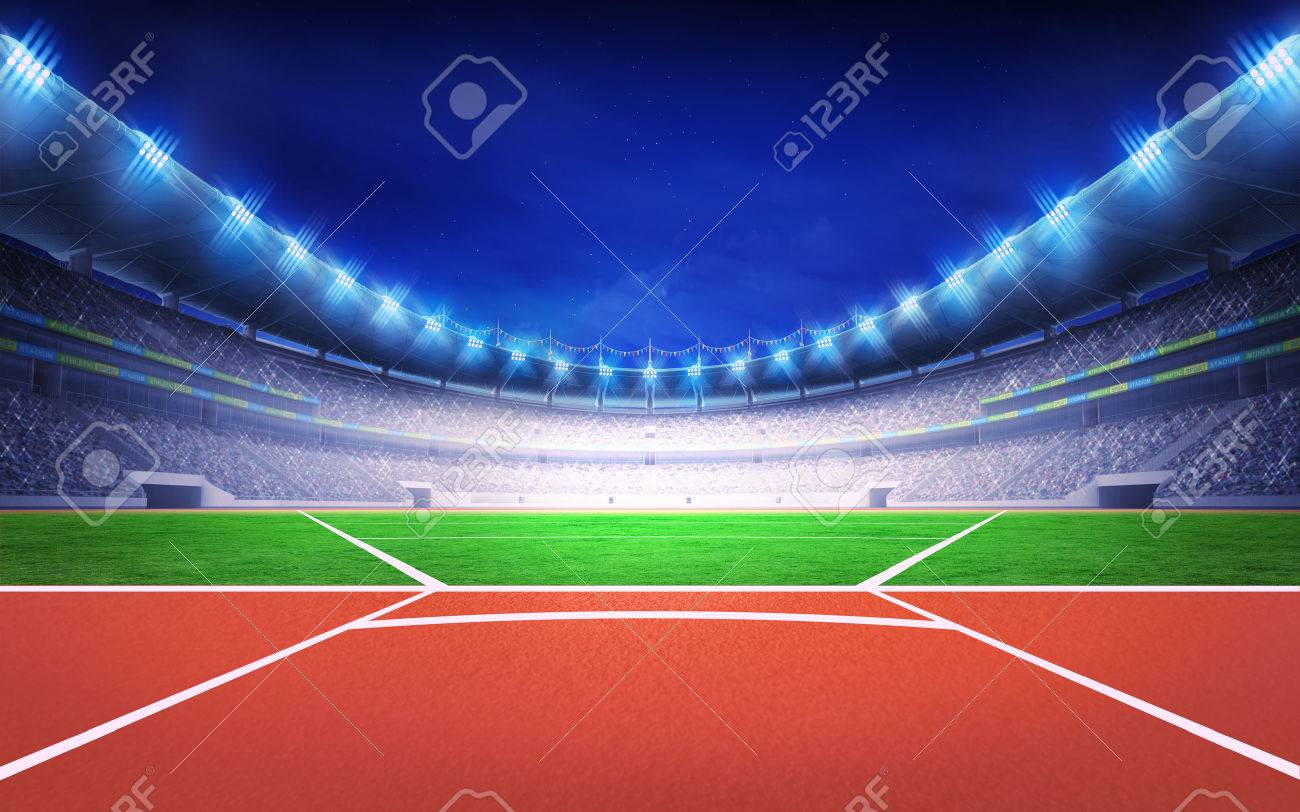 athletics stadium with javelin throw post sport theme render illustration background - 43695161