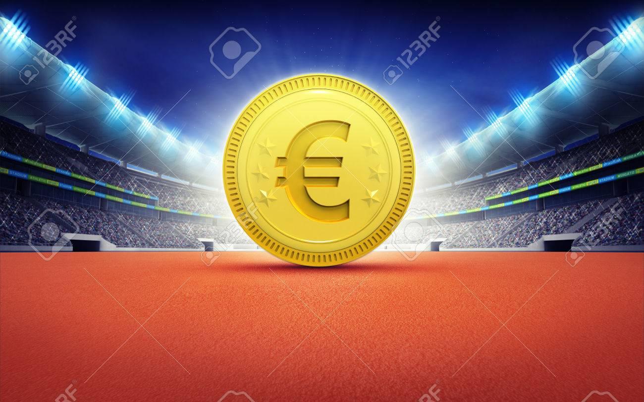 ゴールデン ユーロ コイン スポーツをテーマにした陸上競技場イラスト背景を描画します