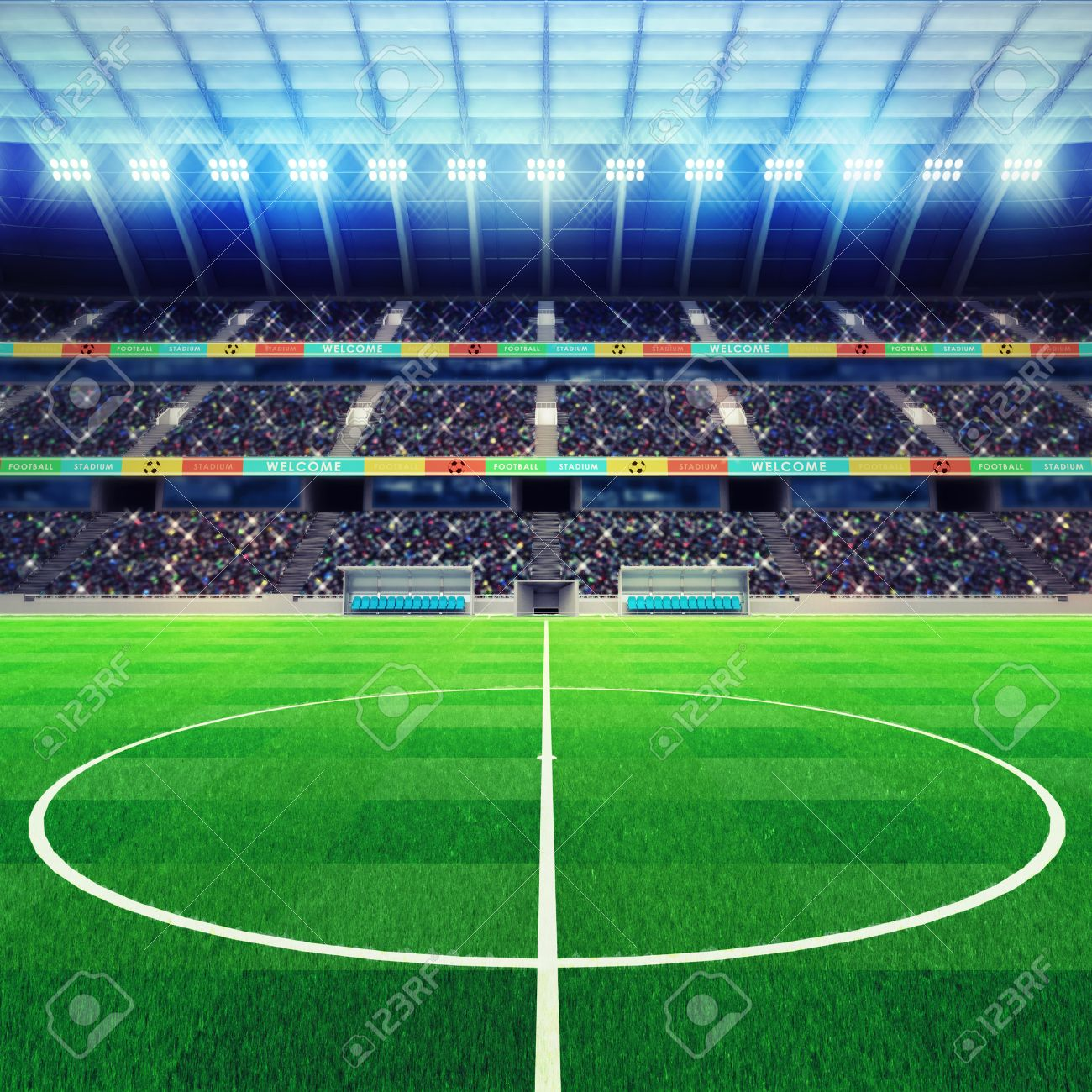 lighted football stadium middle with fans in the stands sport match background digital illustration my own design - 44573868