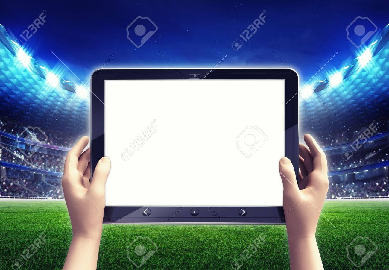 Estadio De Fútbol Con El Marco De Computadora De La Tableta Blanca ...