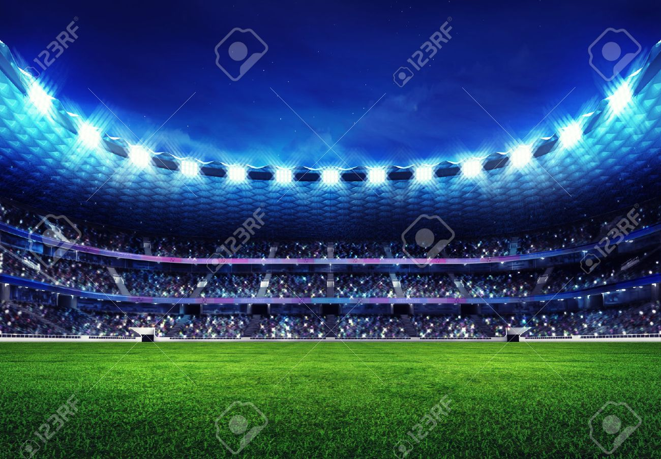 modern football stadium with fans in the stands and green grass field - 44964248
