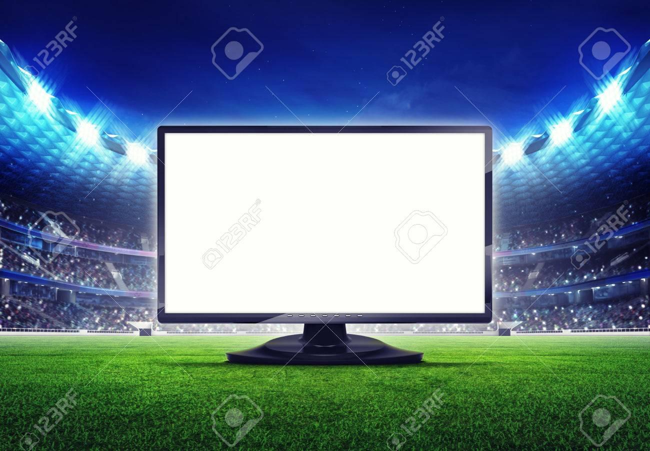 football stadium with empty tv screen frame on grass field digital sport illustration - 44964370