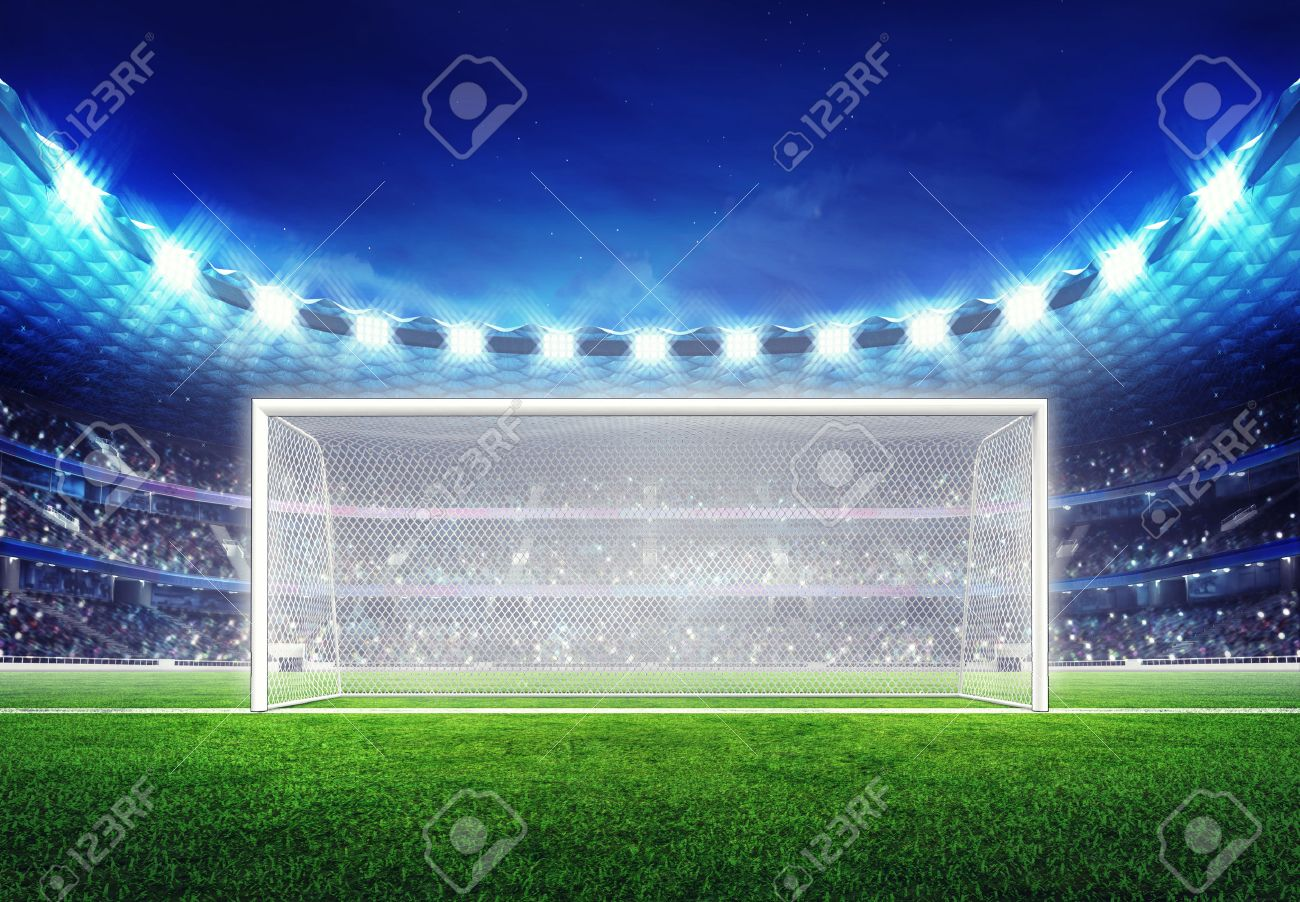 football stadium with empty goal on grass field digital sport illustration - 44964371