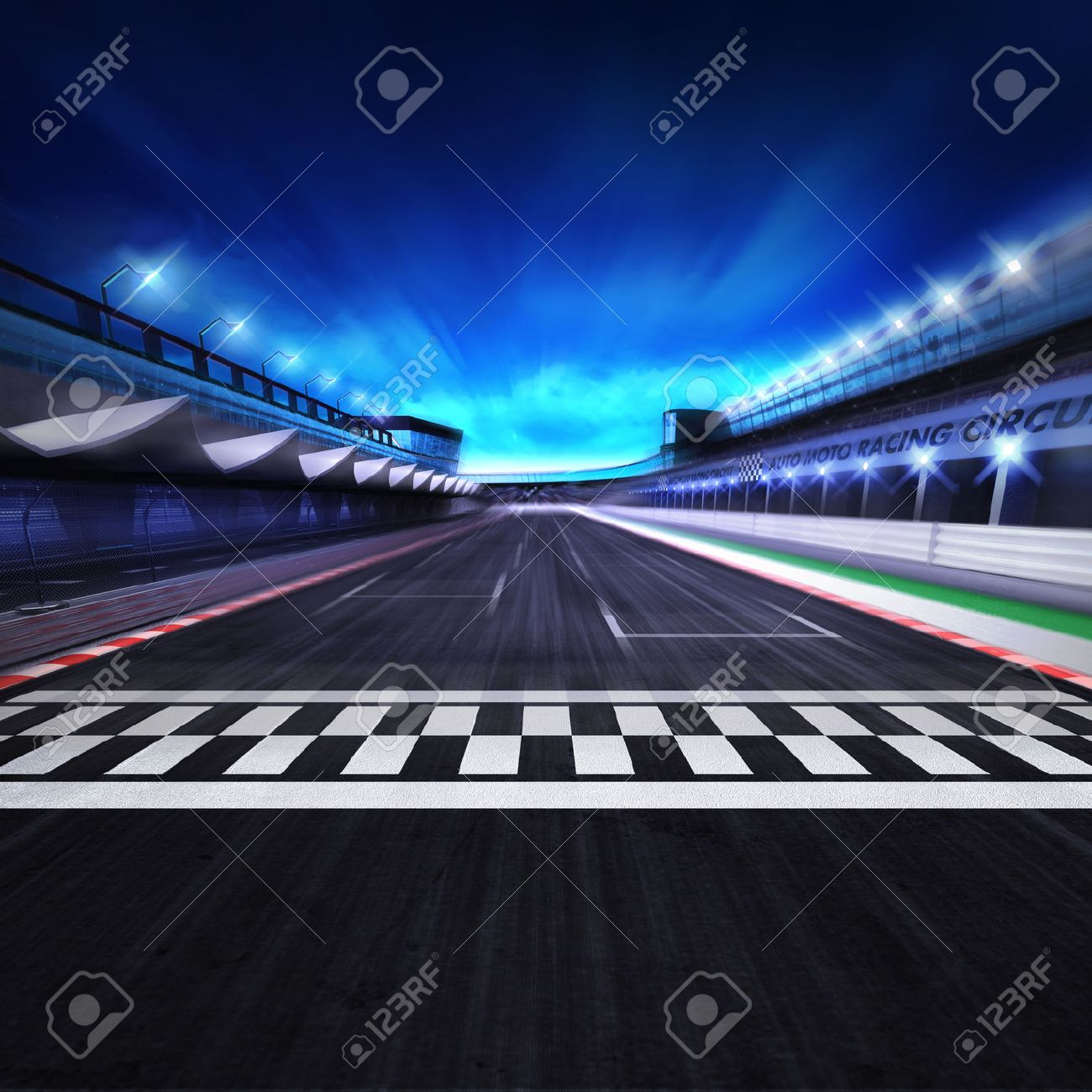finish line on the racetrack in motion blur with stadium and spotlights,racing sport digital background illustration - 47214938
