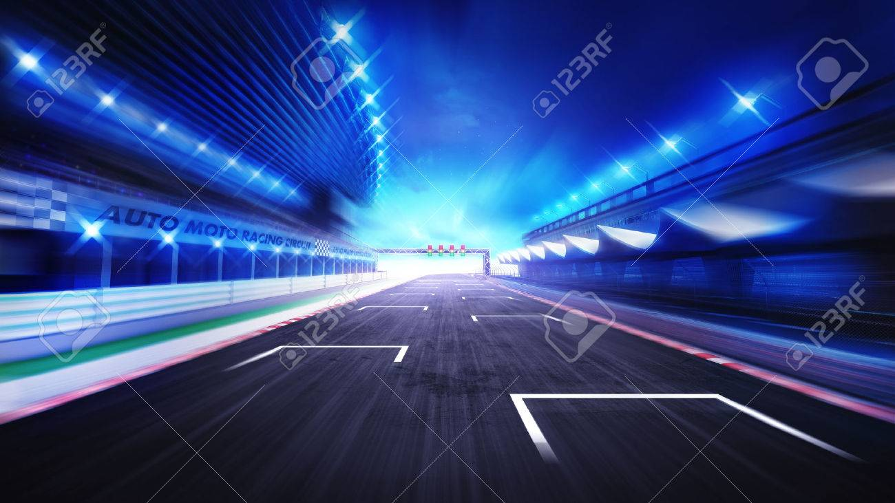 racecourse finish straight road with evening blurred sky, racing sport digital background illustration - 47855773