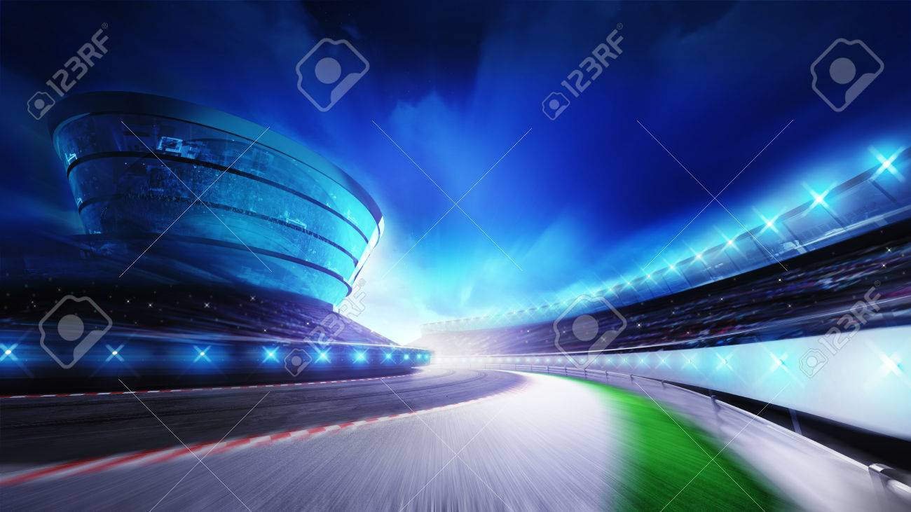 race track bended road with stands and spotlights, racing sport digital background illustration - 47855822
