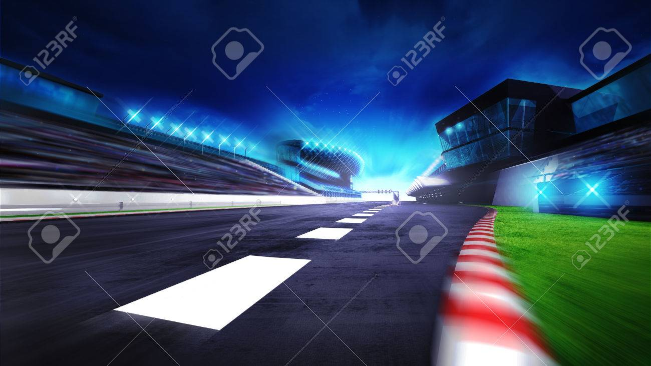 view of the start finish line and paddock on the racetrack, racing sport digital background illustration - 47855862