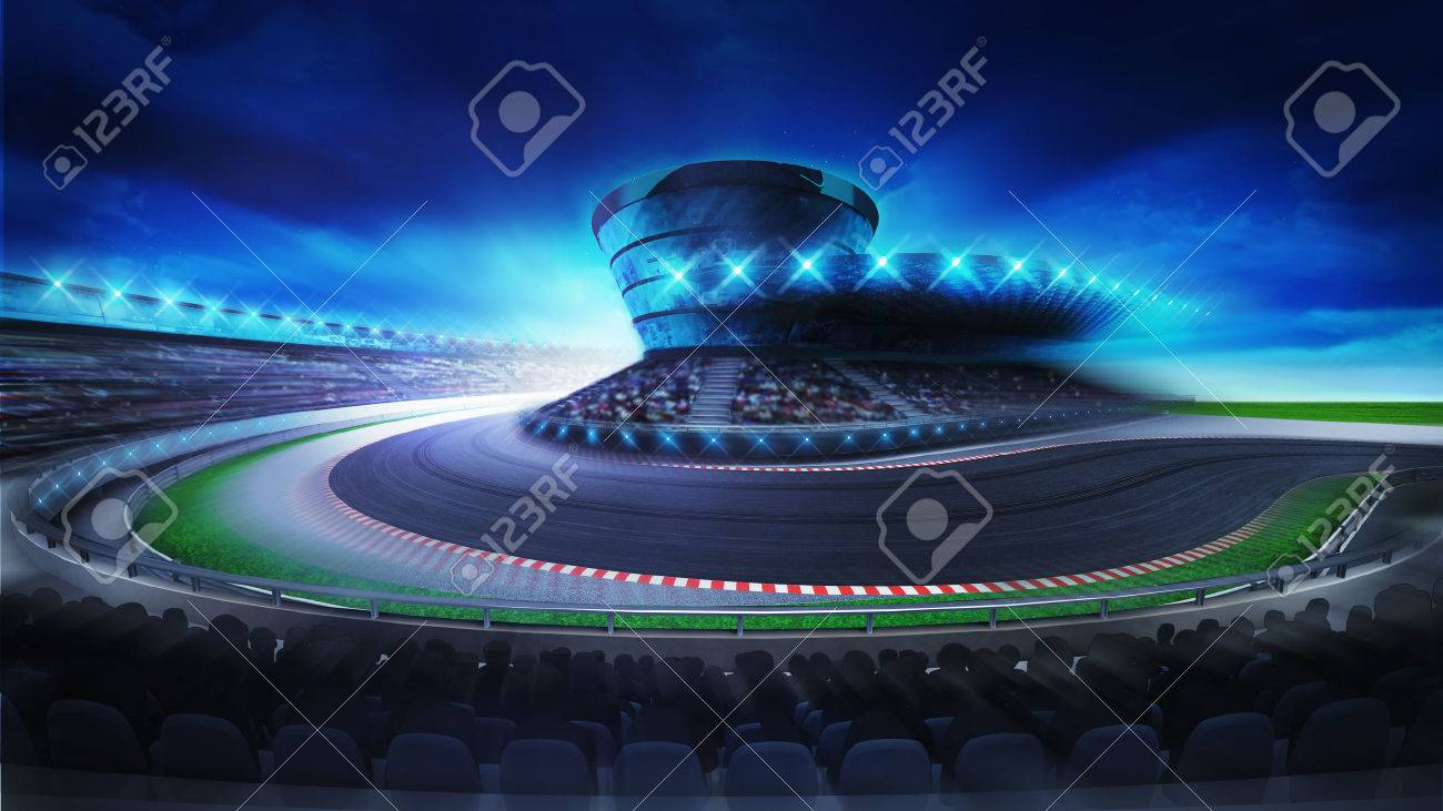 bend on the racetrack with fans on the stands at the front, racing sport digital background illustration - 47855874