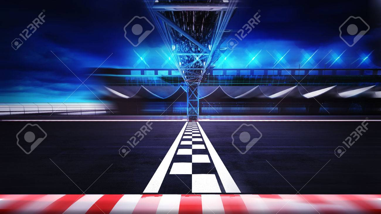 finish line on the racetrack in motion blur side view , racing sport digital background illustration - 47855892