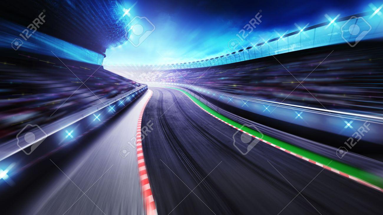 bended asphalt racetrack with stands around, racing sport digital background illustration - 47856060