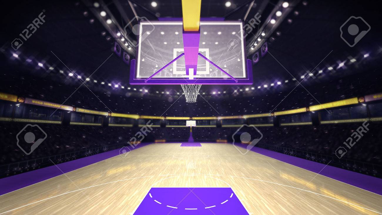 under basketball hoop on basketball court, sport topic arena interior illustration - 51872174