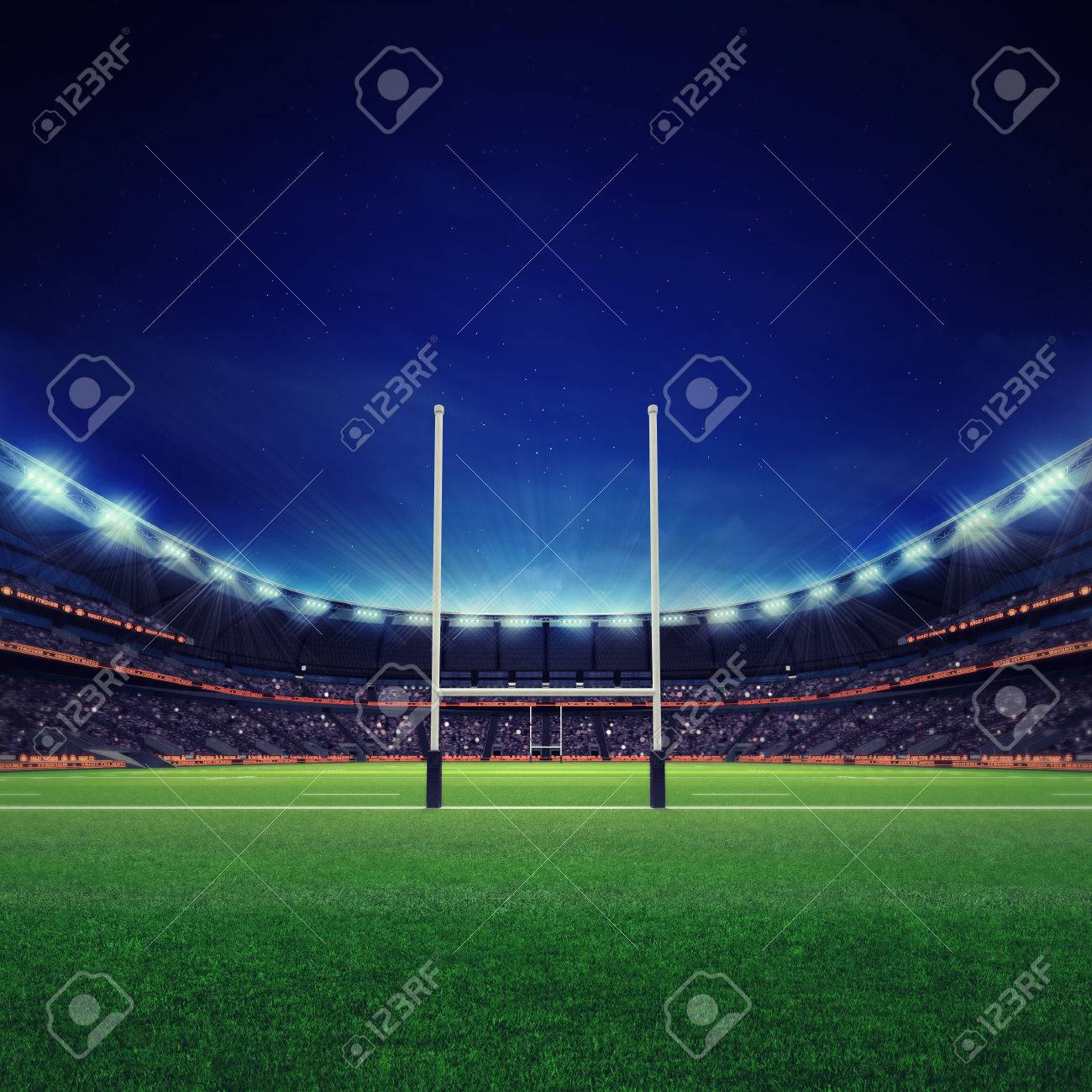 modern rugby stadium with fans and green grass, sport theme three dimensional render illustration - 62775603