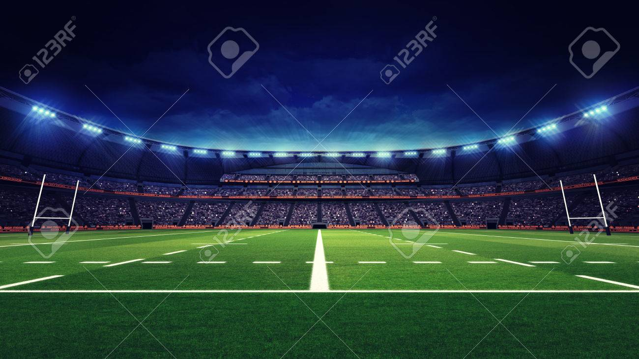 rugby stadium with fans and green grass playground, sport theme three dimensional render illustration - 62775611