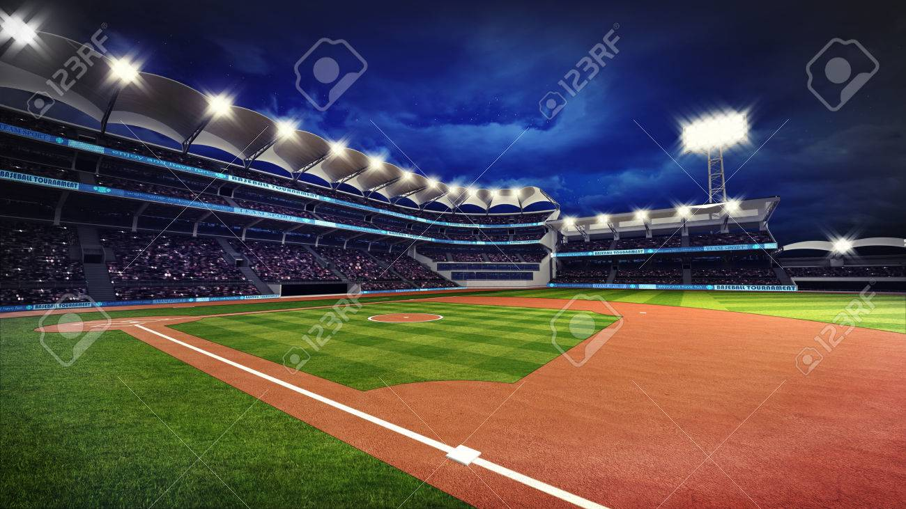 illuminated baseball stadium with spectators and green grass, sport theme 3D illustration - 62775806