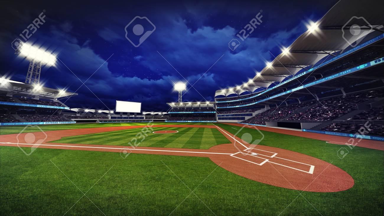 illuminated modern baseball stadium with spectators and green grass, sport theme 3D illustration - 62775786
