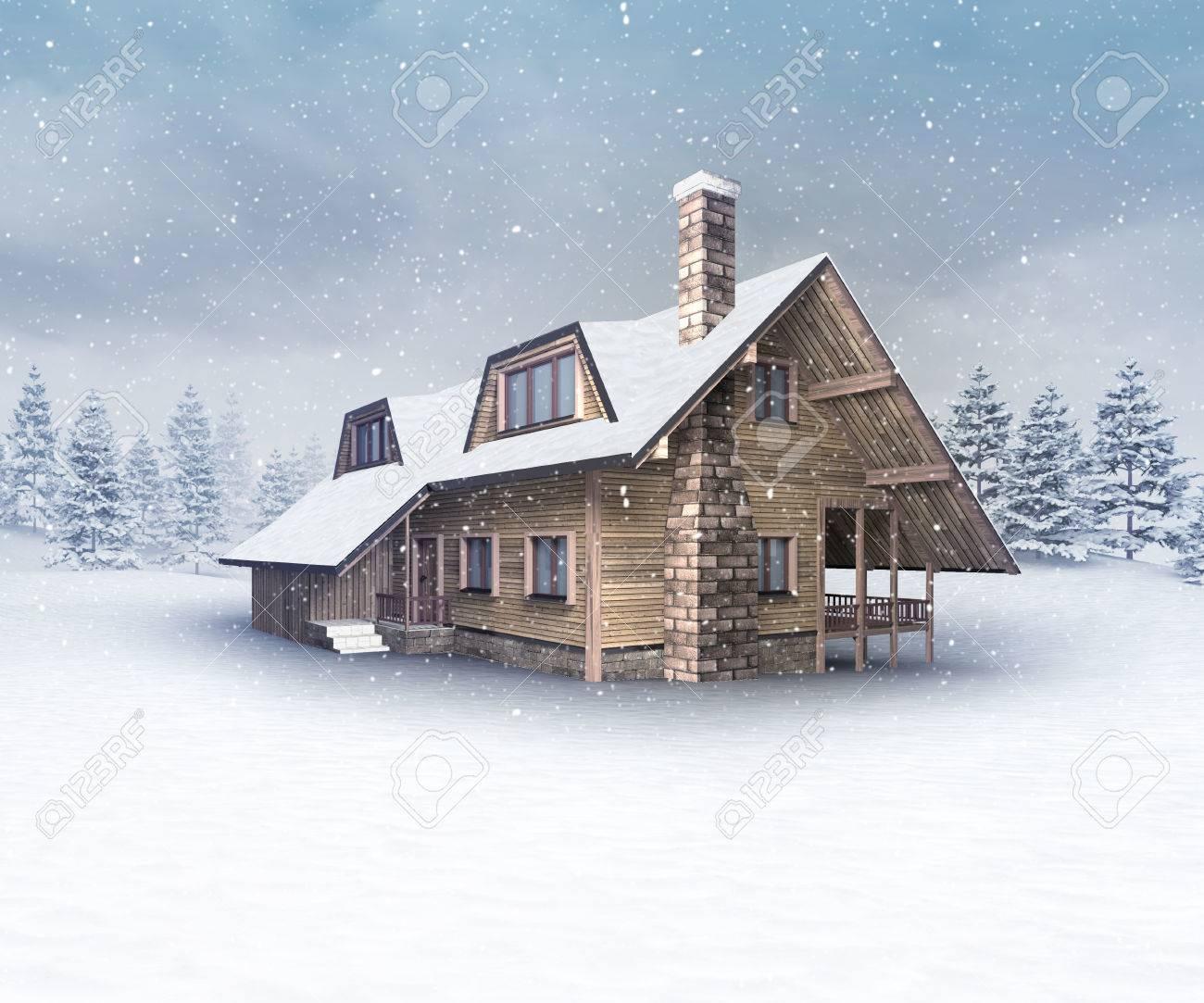 冬の積雪冬シーズンの屋外風景 3 D イラストで季節的な木製小屋 の写真