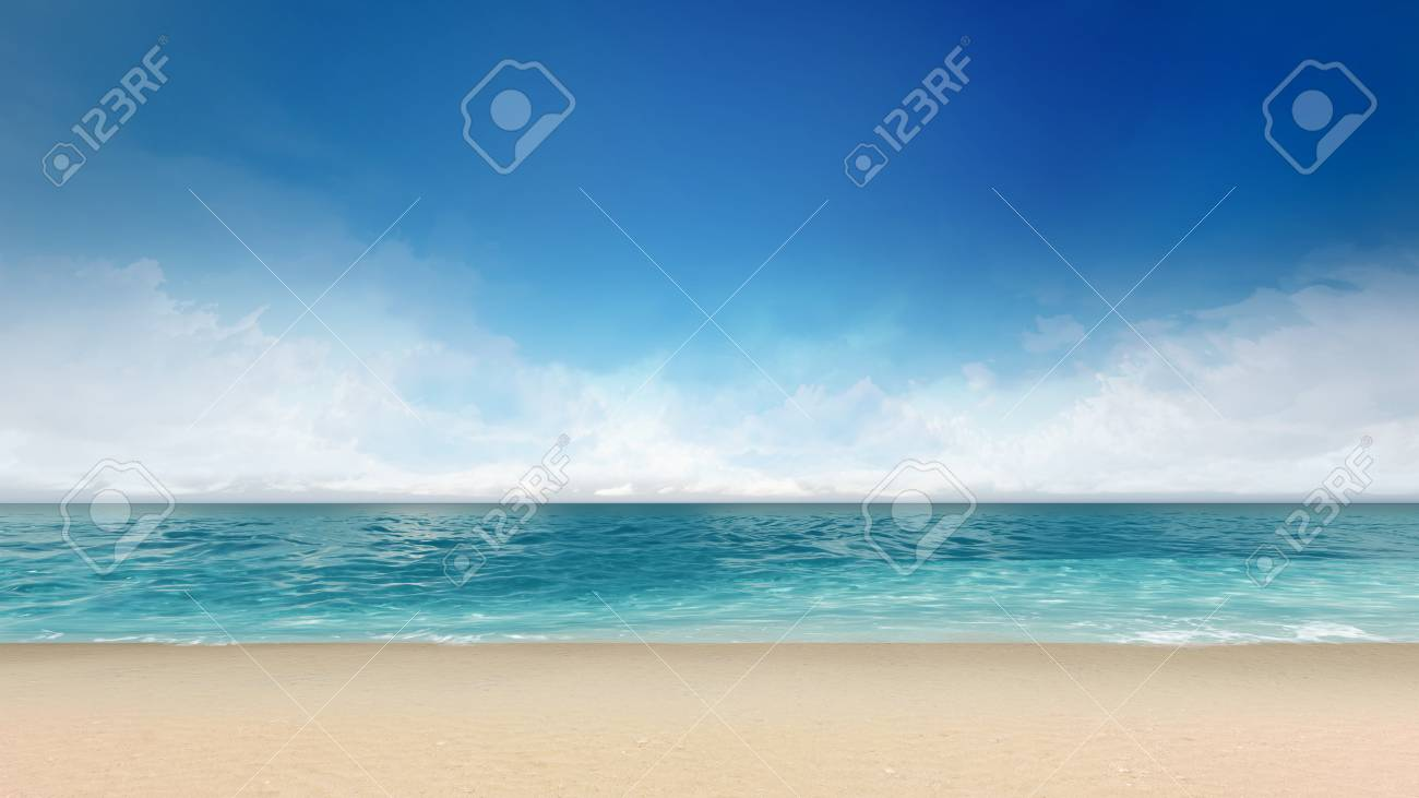 砂浜海と穏やかな空、海 3 d 背景イラストでの休暇 ロイヤリティーフリー