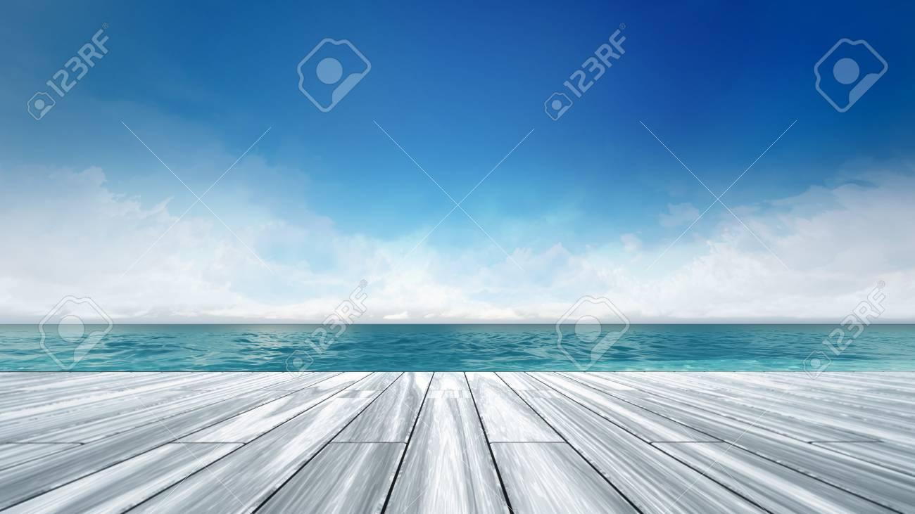 昼間、海 3 d 背景イラストで休暇で海の景色とウッドデッキ