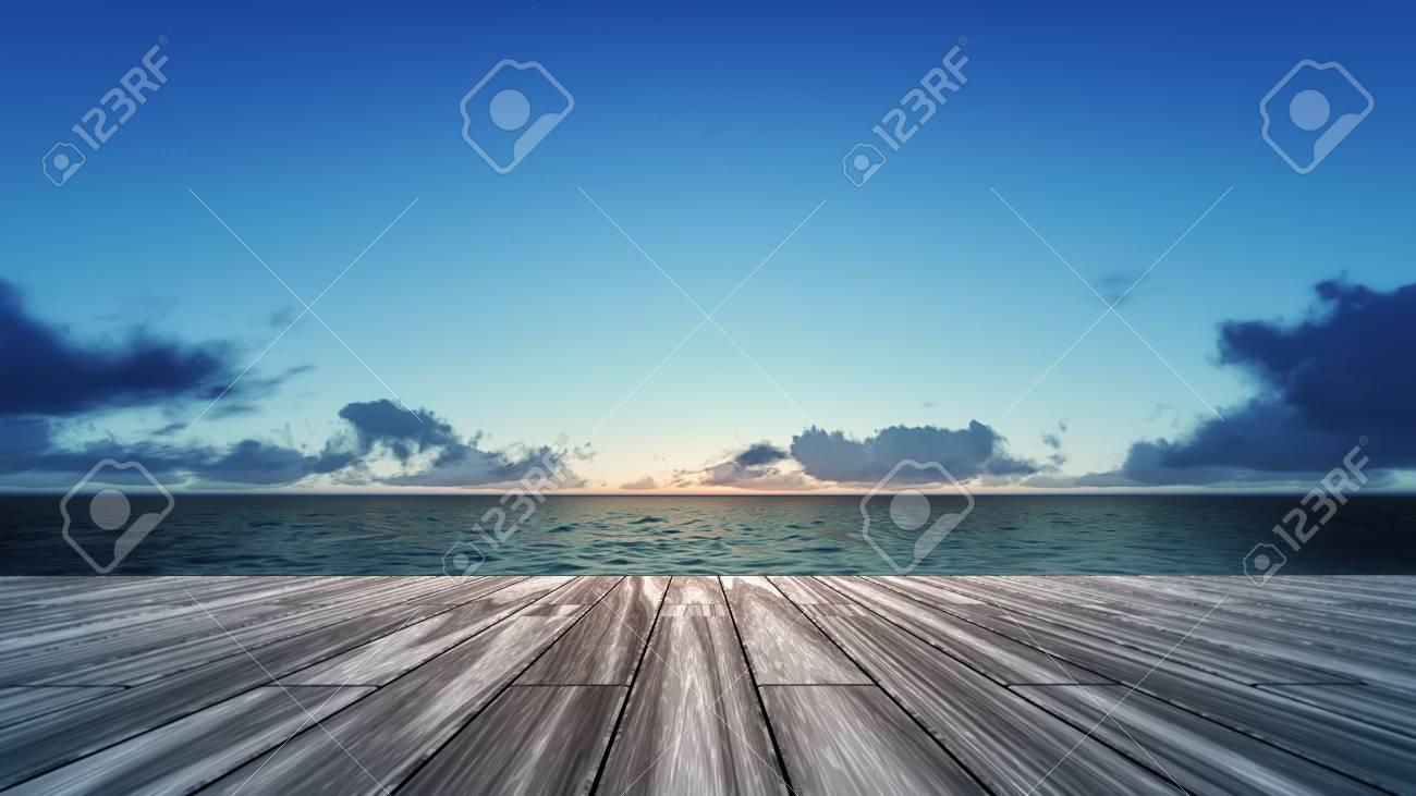 海の風景、海 3 d 背景イラストで休暇の日の出とウッドデッキ