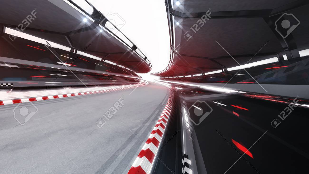 Illuminated race track road with speed motion blur, racing sports background rendering 3D illustration - 106913915