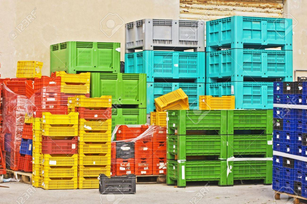 Coloured Stacks Of Fruits And Vegetable Crates In A Storehouse Stock Photo    2177664