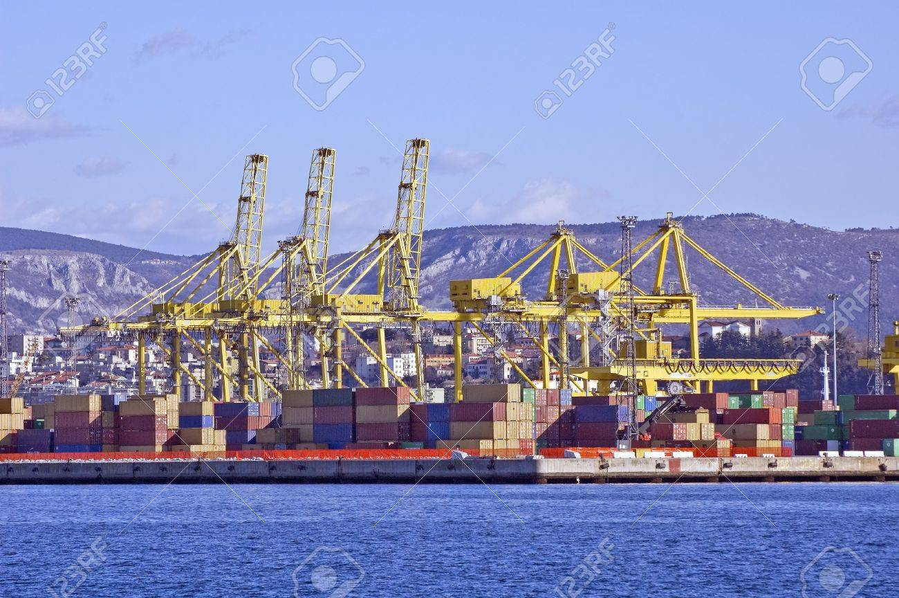 Stacked containers ready to load on a ship Stock Photo - 2514777