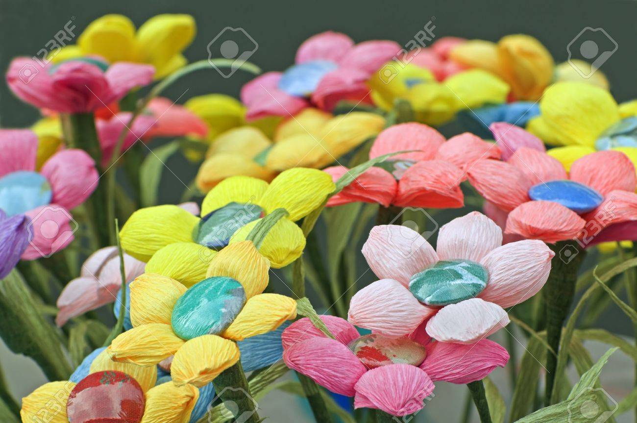 Many Coloured Handmade Flowers Made With Crepe Paper Stock Photo
