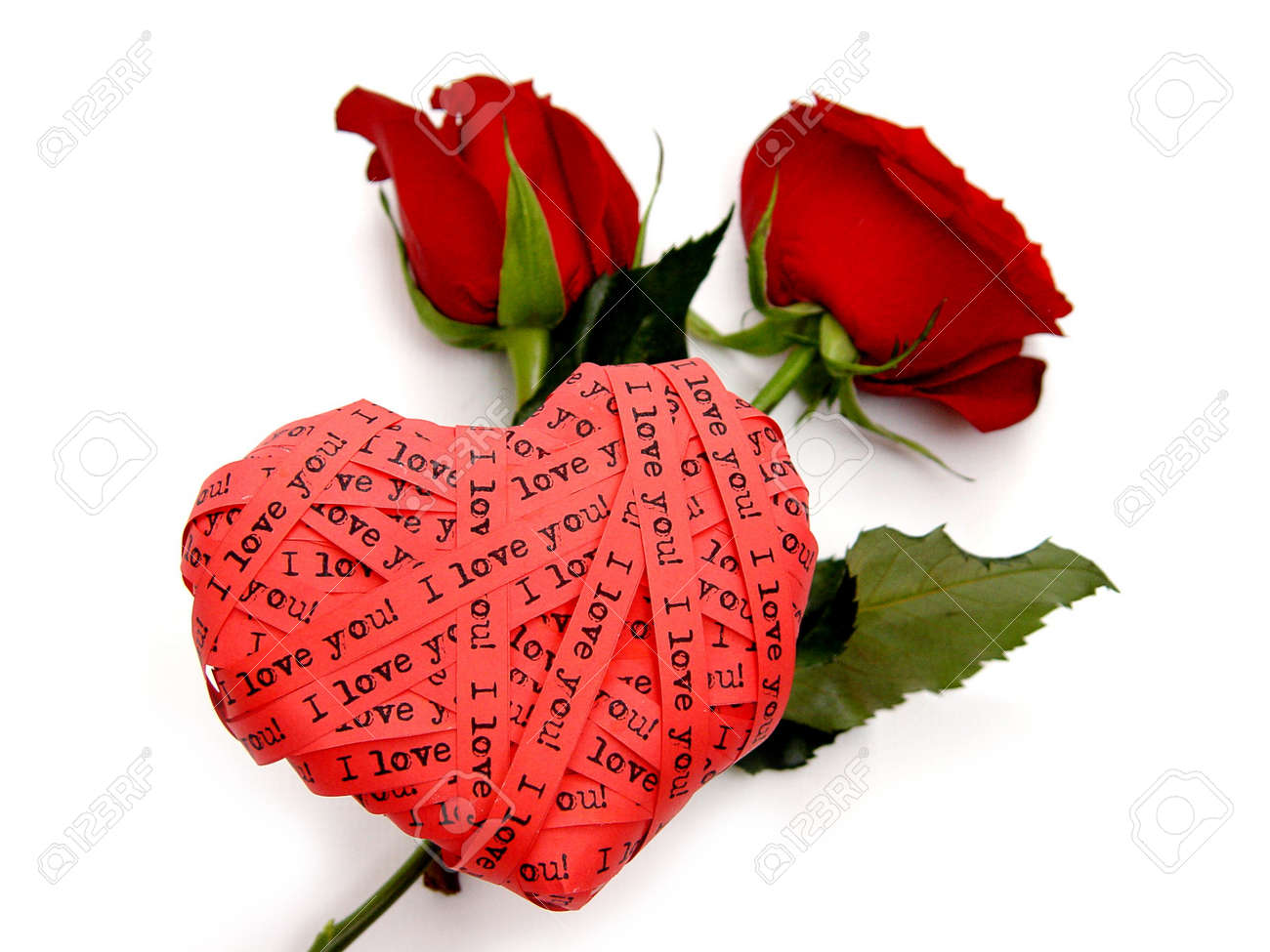valentine s day card red heart end roses i love you stock photo